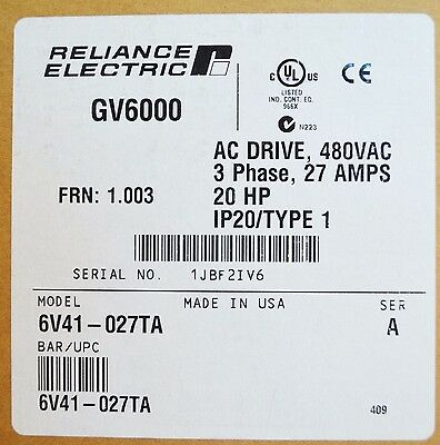 New Sealed Reliance Electric Gv6000  6V41-027Ta 20 Hp 480 Vac Version 1.003