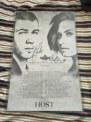 Future Now Tour Nick Jonas Demi Lovato Signed VIP Poster
