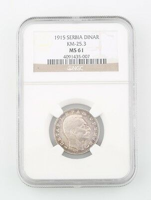 1915-A Serbia 1 Dinar Silver Coin Slabbed MS-61 Paris Mint Graded by NGC MS61
