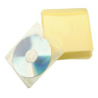 100x CD DVD DISC Color Cover Storage Case Plastic Sleeve Wallet Packs 100 Micron