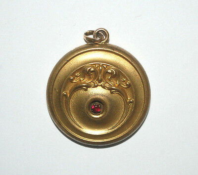 GORGEOUS W.& S.B. Antique Victorian Gold Filled RED RUBY Locket Necklace 1 1/4''