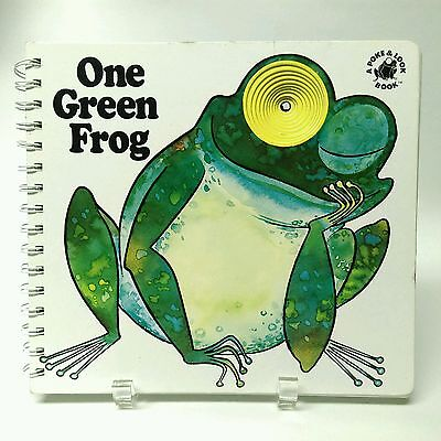 Vintage 1981 POKE & LOOK One Green Frog children's counting numbers board book