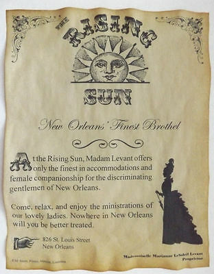 Rising Sun Brothel Novelty Poster Handbill, New Orleans, bordello, wanted