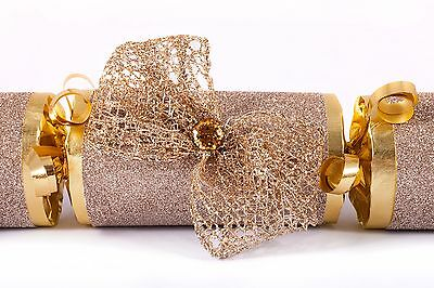 Luxury Christmas Crackers Handmade Pale Gold Bow