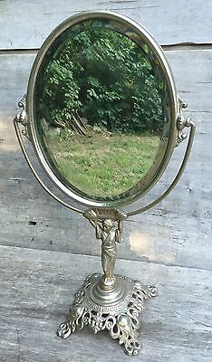 Antique Golden Mfg. Co. Silver Oval Swivel Stand Vanity Mirror Geisha Girl Base
