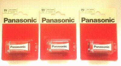 3 x PANASONIC Size 9V MN1604 'Square Block' Smoke Alarm Zinc Carbon Batteries