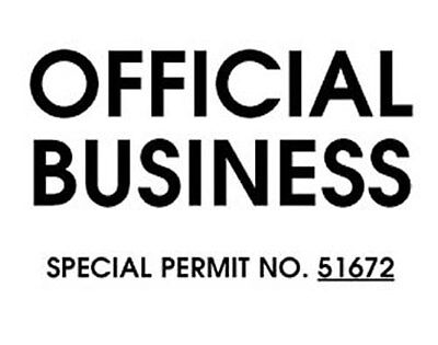 Official Business Windshield Pass