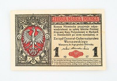 1917 Poland One Marka Note AU German Occupation World War 1 WWI Polish Marki