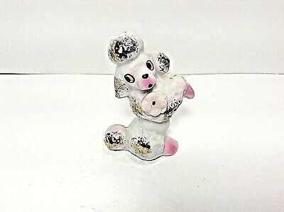 Vtg=Spagetti Porcelain French Poodle W/flower & Gold Tone Flecks Figurine=Japan