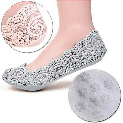 5 Colors Fashion Women Lace Slipper Socks Invisible Seamless Low Cut Boat Thick