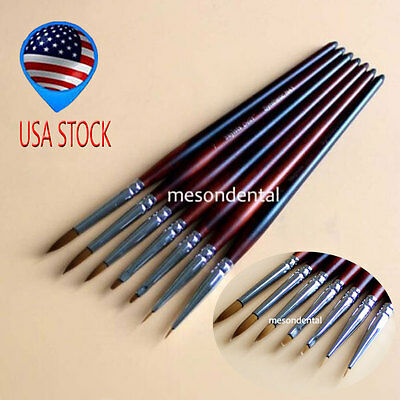 USA STOCK 7pcs/Kit Dental Lab Sable Porcelain Ermine Brush Zirconia Pen HUKK