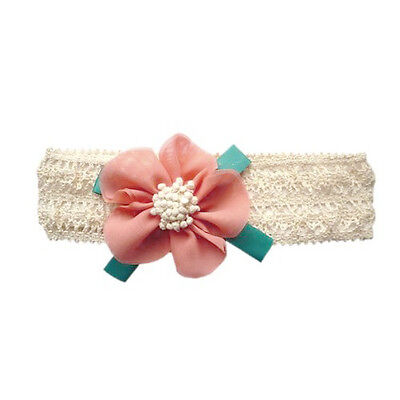 BT Baby Girl's Infant Headband Flower Bow Children Hair Band Powder Blue