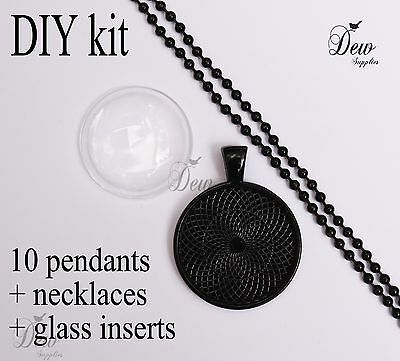 "10 x DIY round black pendant kit 1"" pendant tray bezel glass cabochon chain"