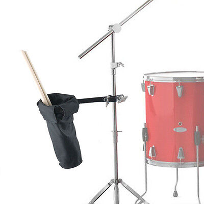 Black Canvas Drumsticks Holder Stage Style Clamp On Drum Stick Case Hammer Bags