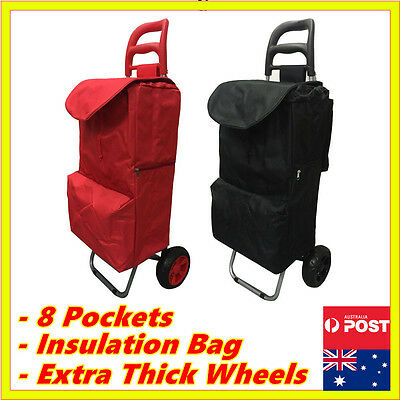 8 Pockets Shopping Market Trolley Foldable Luggage Cart Bag Basket Wheels