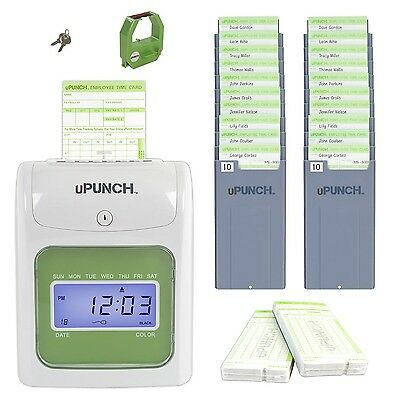 uPunch Electronic Payroll Time Clock Punch Machine 100 Cards & Two 10-Slot Racks