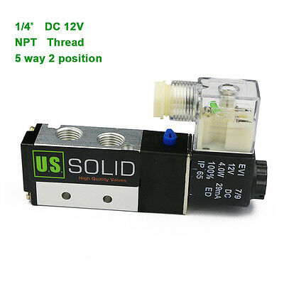 "U.S.Solid® 1/4"" NPT 5 way 2 Position Pneumatic Electric Solenoid Valve 12V DC"