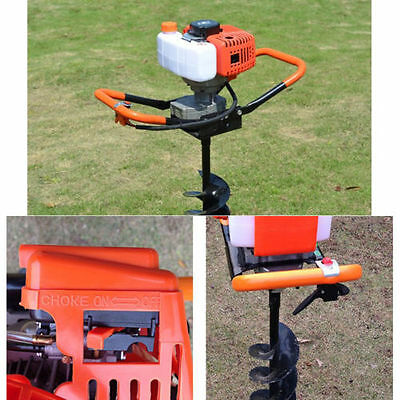 52cc Petrol Earth Auger Post Hole Borer Digger Ground Drill With3 Bits+Extension