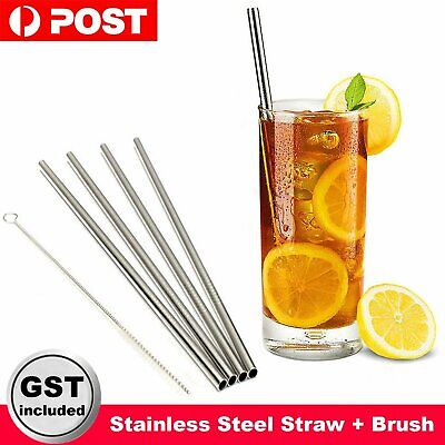 4X Stainless Steel Straw Metal Drinking Straight Reusable Washable 1XBrush Party