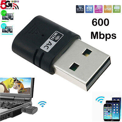 AC600 USB Wireless Wifi Network Adapter 5Ghz 433Mbps Dual Band 802.11ac/a/b/g/n