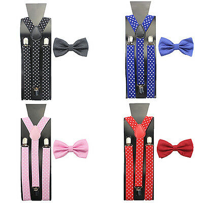 Boys Girls Ideal Adjustable Braces Clip-On Wear Suspenders+Bow Tie Necktie