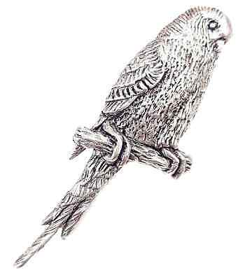 Budgerigar Finely Handcrafted in Solid Pewter In UK Lapel Pin Badge
