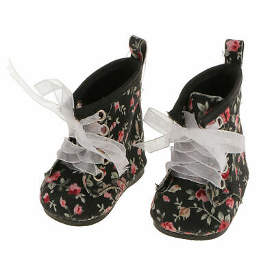 "Black Floral Lace Up Boots Shoes For 18"" Dolls American Girl Our Generation"