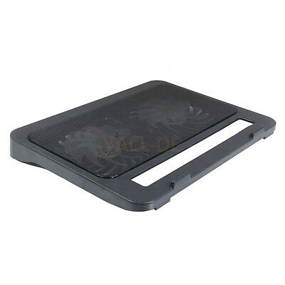 """Laptop Notebook PC 15"""" 2 Fan LED 2 USB Cooling Cooler Pad Stand Iron Network DE"""