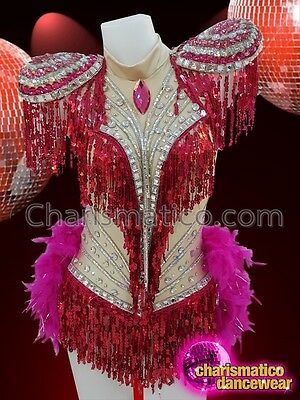 CHARISMATICO Fuchsia diva boa leotard with feather tail and silver sequins