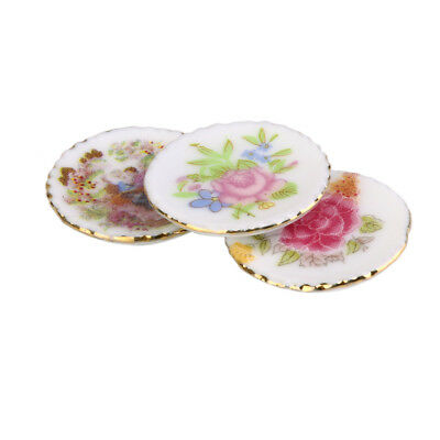 3pc Dolls House Miniature Round Ceramic Floral Dish Plates Kitchen Accessory