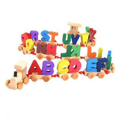 Colorful Wooden Full Set Alphabet Letters Train w Wheel Kids Educational Toy