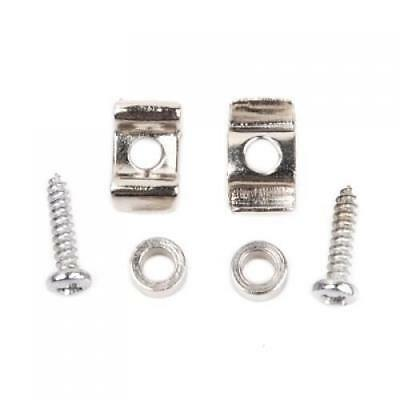Pair Chrome Plated ROLLER STRING TREE RETAINER w Screws fit Most Electric Guitar