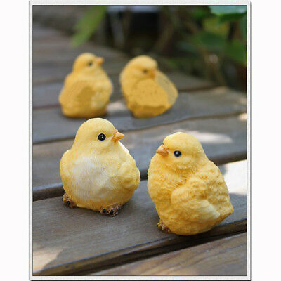 4pcs Resin Yellow Little Baby Chick Chicken Garden Home Ornaments Decoration