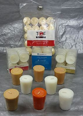 Wholesale lot of 44 Tealight and Votive Candles mixed scents sizes colors