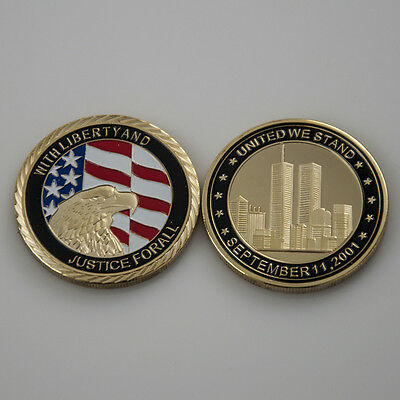 10 - 1 OZ 911 commemorative 24kt Gold plated coin