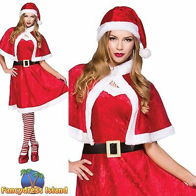 LITTLE MISS SANTA CLAUS CHRISTMAS XMAS UK 10-24 Women Ladies Fancy Dress Costume