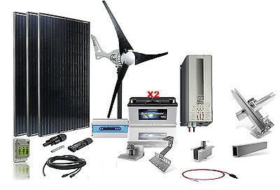 Solar / Wind Hybrid Komplett-Set, Output: 2200 Watt - PV Leistung: 765 Watt