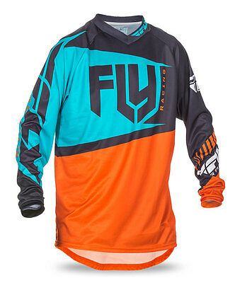 FLY RACING MX Motocross MTB BMX 2017 F-16 Jersey (Orange/Teal) Choose Size