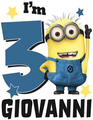Personalized Big Number Minion Boy Birthday T-Shirt