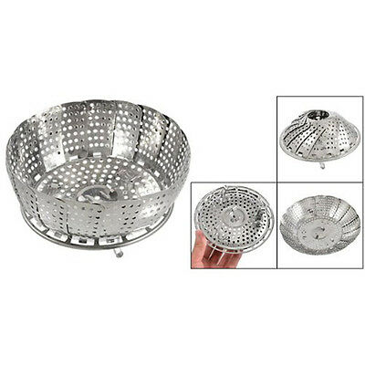119g Silver Kitchen Folding Stainless Steel Mesh Holes Steam Basket Cooker B4M7