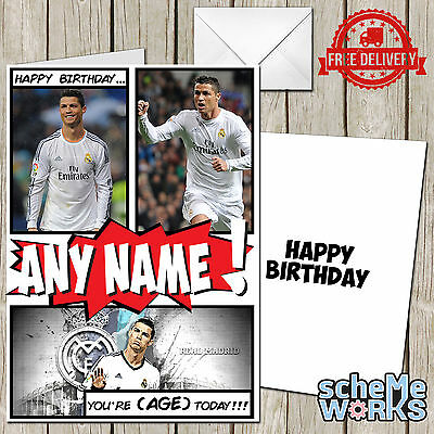 EXTRA LARGE RONALDO Real Madrid **Personalised A4 Birthday Card** FAST Shipping