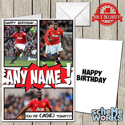 Pogba Personalised Greeting Birthday Card Man U Manchester United