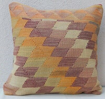20'' x 20'' Antique Pastel Pale Color Wool Kilim Pillow Cover, Housse de Coussin