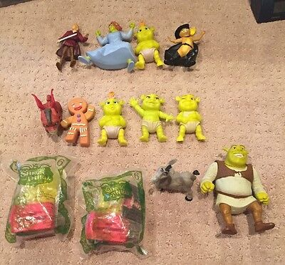 Lot Of 13 Shrek Movie Figures Ogre Babies  Dragon Figures Caketoppers Toy PVC