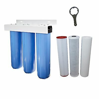 """Whole House Water Filter System 20"""" x 4.5"""" Triple 3 Stage Carbon & Sediment"""