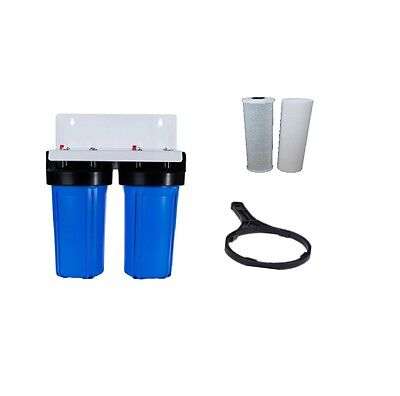 Whole House Water Filter System 10'' x 4.5'' Big Blue 2 stage Sediment Carbon