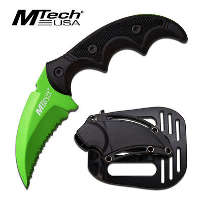 MTech Green Karambit Hawkbill Tactical Survival Serrated Neck Boot Knife Sheath
