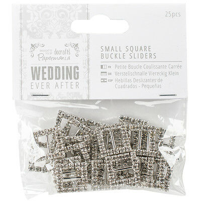 Papermania Ever After Wedding Buckle Ribbon Sliders 25/Pkg Square PM158440
