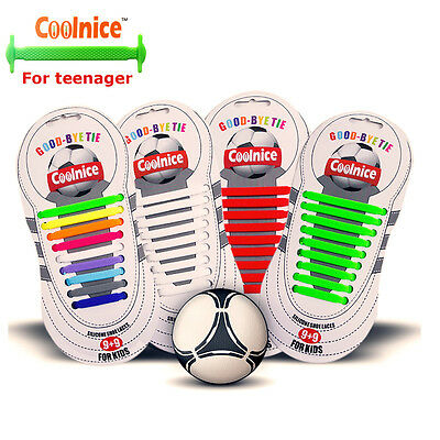 Coolnice® Black No Tie Shoelaces Red White Green Elastic Shoe Laces For Children