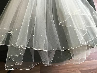 Veil White Bridal Pearl and Crystal 2 Tier Pencil Edge Wedding Comb Bride Hair